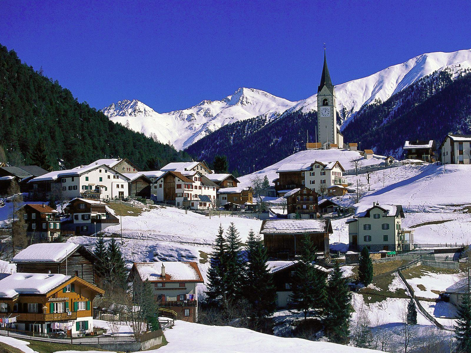 Big small village graubunden switzerland winter