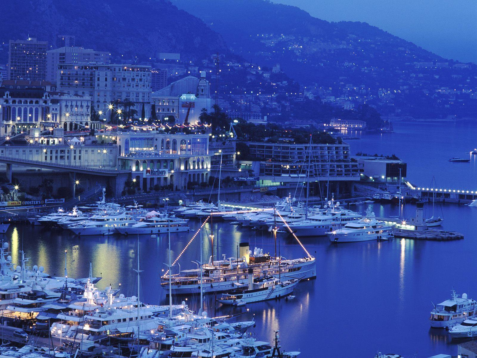 Big harbor of monaco at dusk
