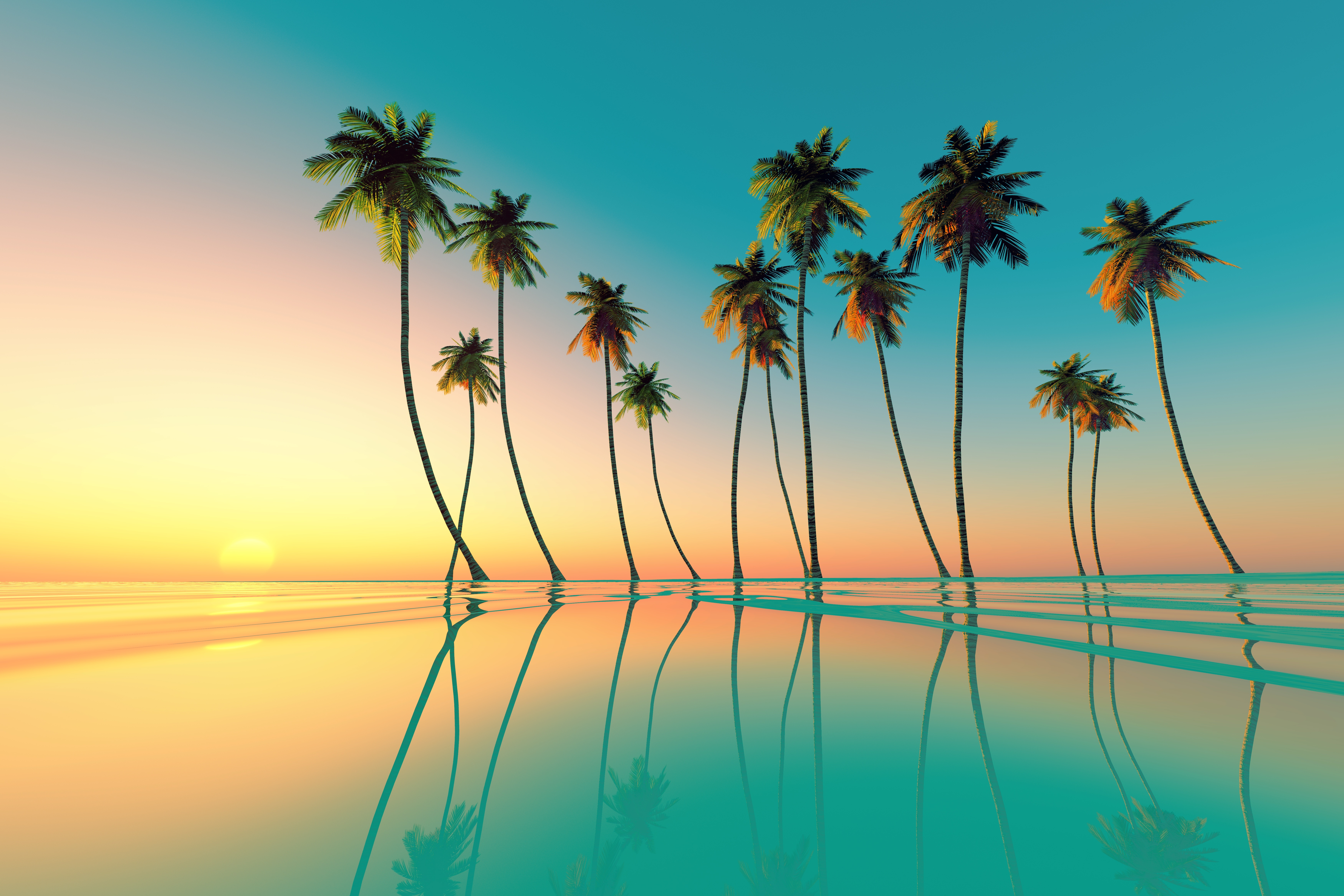 Big coconut palms at turquoise tropical sunset over calm sea