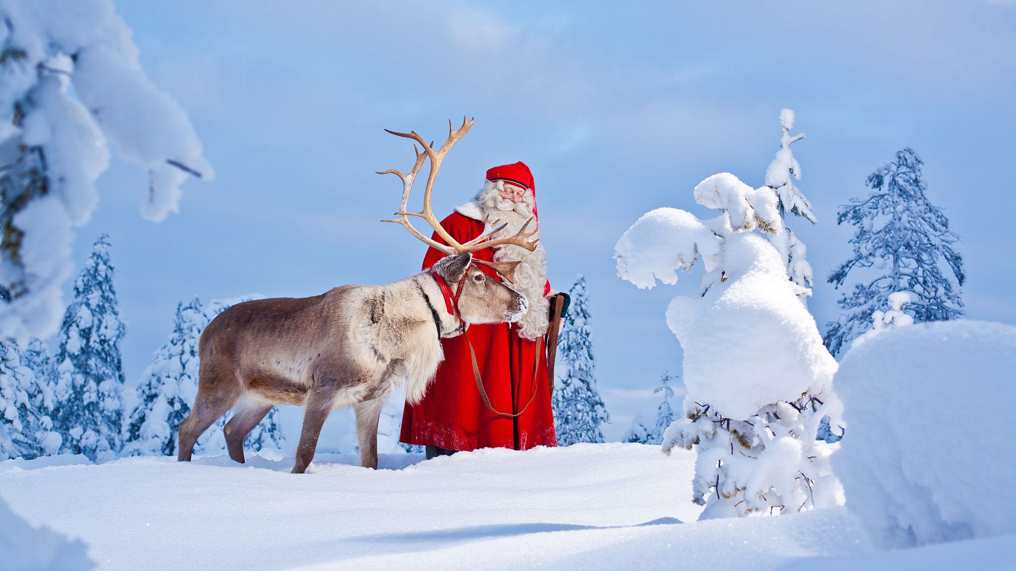 Big visit rovaniemi santa claus reindeer snow frontpage